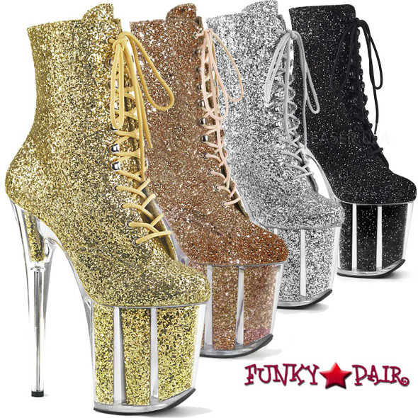 Pleaser | Flamingo-1020G, Glitter Ankle Boots color available: Black, Silver, Gold and Rose Gold