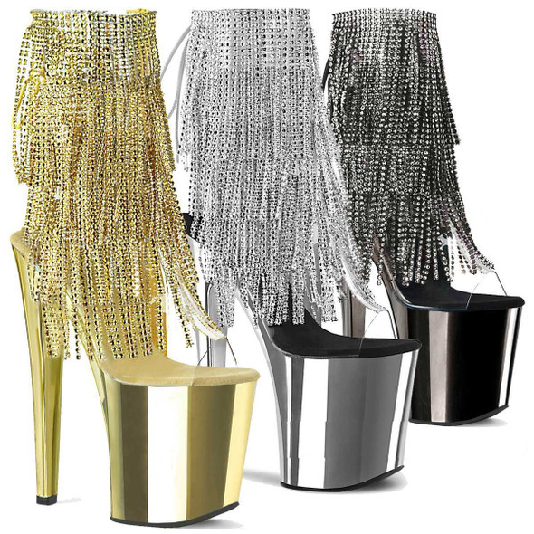Stripper Boots Xtreme-1017RSF, Fringe Ankle Boots with Chrome Platform