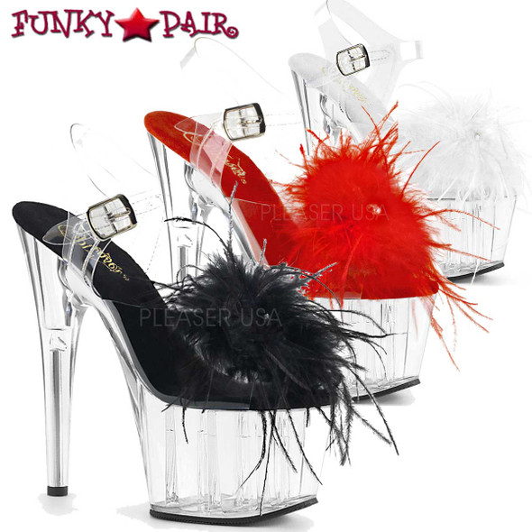 Pleaser Shoes | Adore-708MF, Ankle Strap Marabou Platform Sandal @Funkypair.com