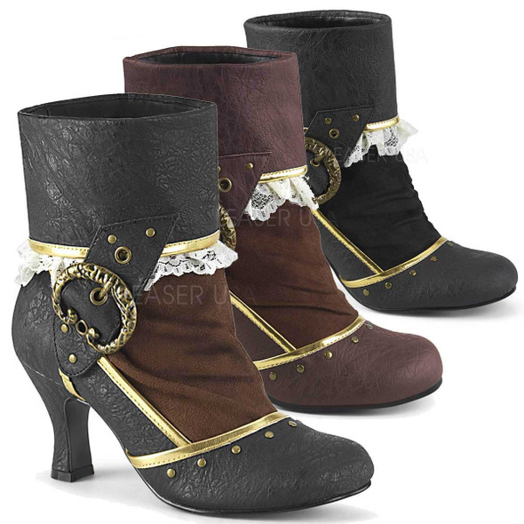 Funtasma Boots | Matey-115, Lace-Lined Cuffed Ankle Boots