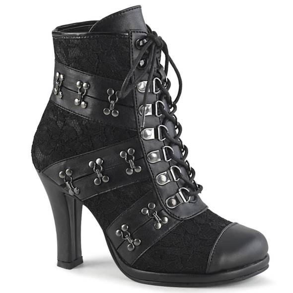 Glam-202, Block Heel Ankle Boots with Hook and Eye Trim Detail by Demonia Boots