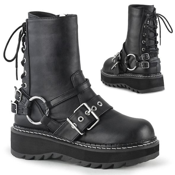 Lilith-210, Rear Lace-up Ankle Boots Women's Demonia