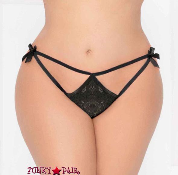 STM-10935X, Plus size Lace Open Crotch Thong | Seven 'til Midnight color black