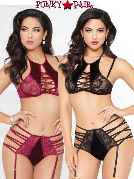 STM-10945, Strappy Velvet and Lace High Bra and Strappy Bottom | Seven 'til Midnigh
