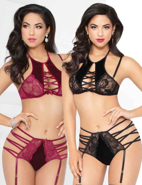 STM-10945, Strappy Velvet and Lace High Bra and Strappy Bottom | Seven 'til Midnight color available: Wine, black
