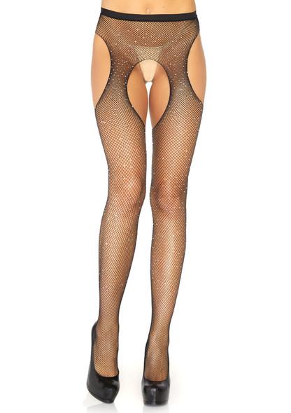 LA9108, Crystalized Fishnet Suspender Pantyhose