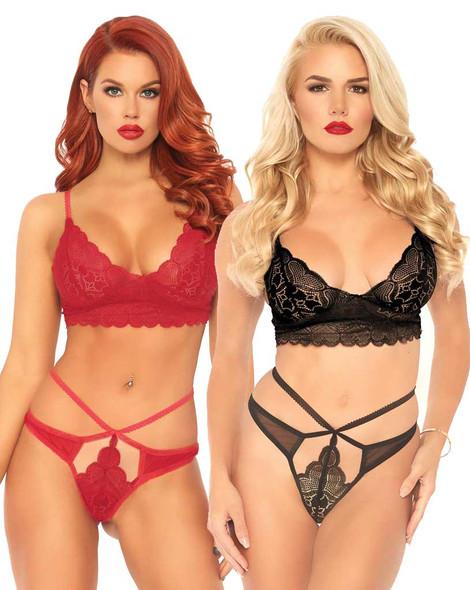 Leg Avenue   LA81578, Lace Bralette and Strappy Cut Bottom color available: Red, Black
