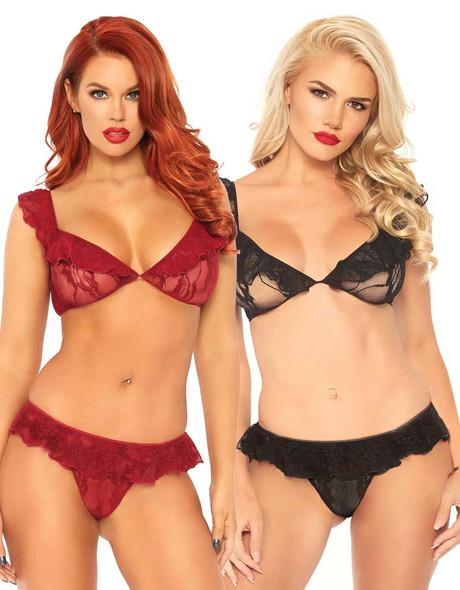 Leg Avenue | LA81574, Lace Ruffle Top and Bottom color available: Burgundy, Black