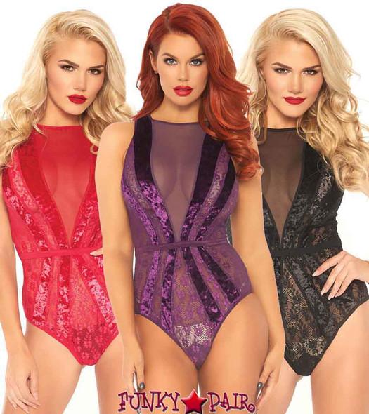 Leg Avenue | LA89236, Velvet and Floral Lace Starburst Teddy