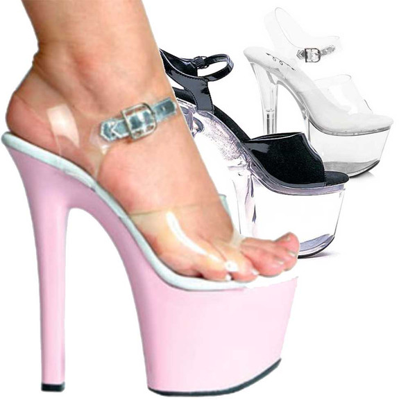 Ellie Shoes | 711-Flirt-C - 7 Inch Ankle Strap Platform Sandal Color available: pink, black, clear