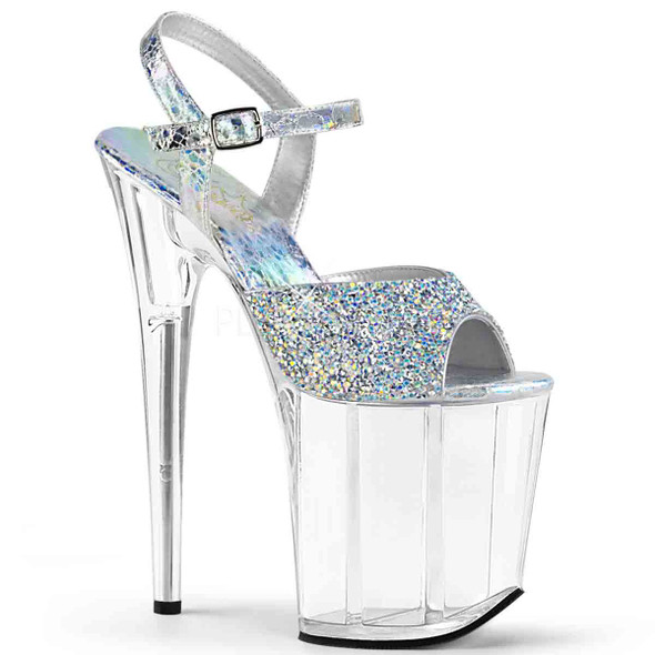 Pleaser | Flamingo-809RS, Multi Rhinestones Platform Sandal