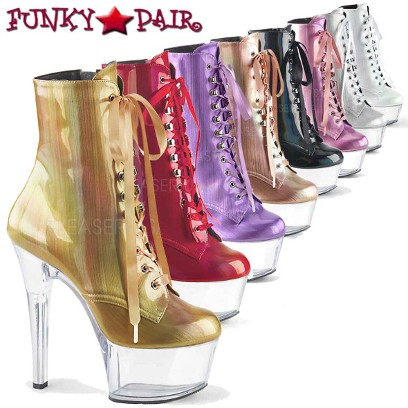 Pleaser | Aspire-1020BHG, Hologram Ankle Boots | FunkyPair.com