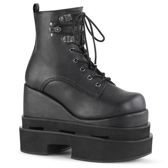 Demonia Boots   ETERNAL-106, Tiered Wedge Ankle Boots