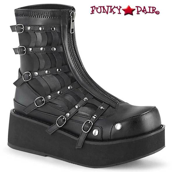 Demonia Boots | SPRITE-100, Platform Zip up Ankle Boots