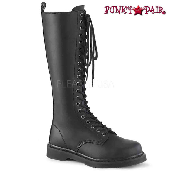 Demonia | BOLT-400, Knee High Lace up Combat Boots