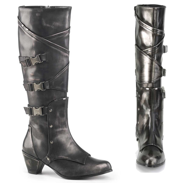 MAIDEN-8820, Cosplay Knee High Boots with Metal Buckles | Funtasma