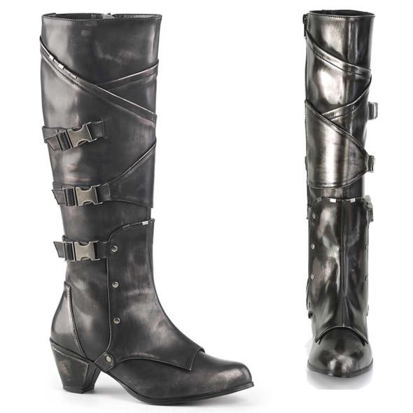 MAIDEN-8820, Cosplay Knee High Boots with Metal Buckles | Funtasma