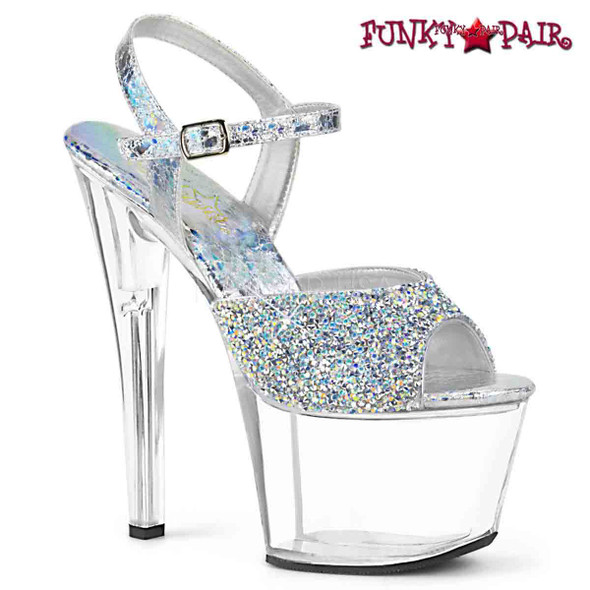 Stripper Shoes SKY-309RS, Platform Sandal with Rhinestones on Vamp