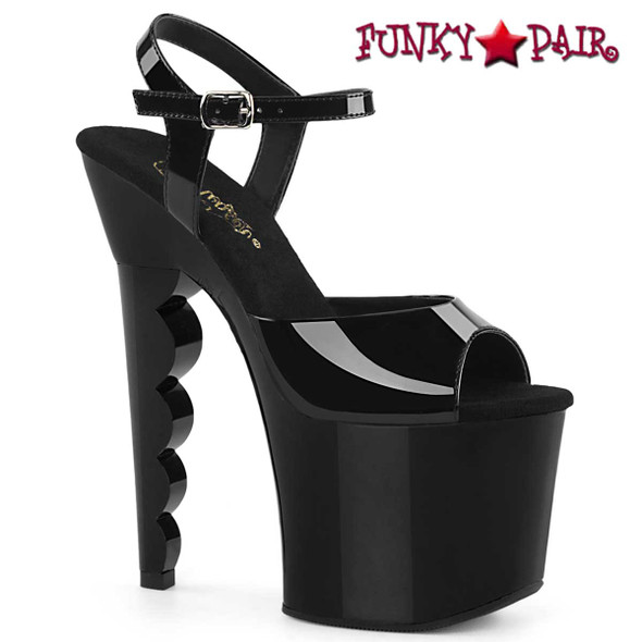 "SCALLOP-709, 7"" Scalloped Heel Platform Sandal by Pleaser"