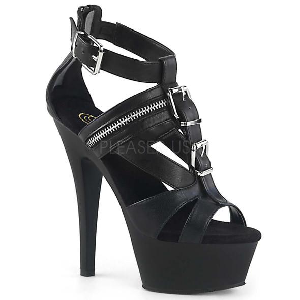 Pleaser Shoes   KISS-251, T-Strap Biker Platform Sandal