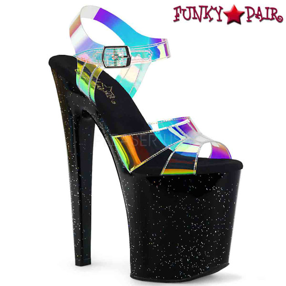 Pleaser Shoes | XTREME-820MMR, Multi-Color Hologram Strap Platform Sandal