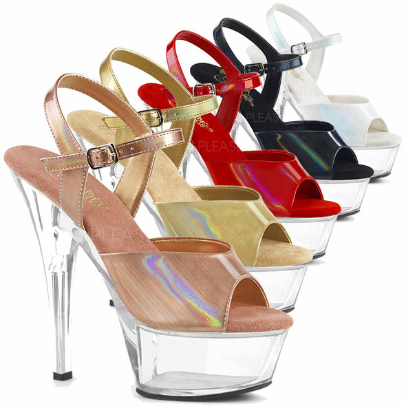 Stripper Shoes | KISS-209BHG, Brush Holographic Ankle Strap Sandal