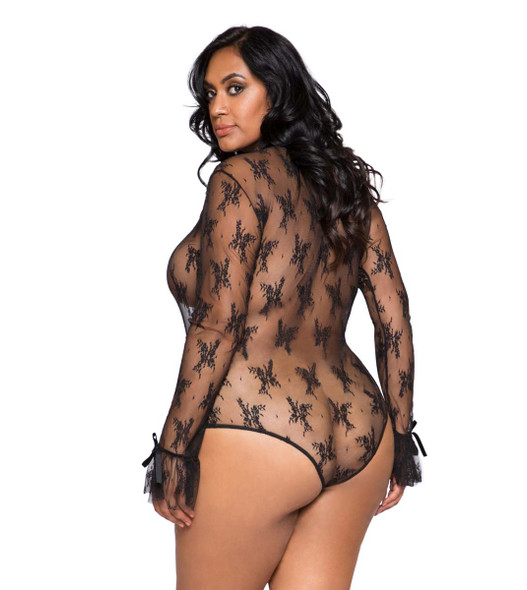 Plus Size Lingerie | LI248X, Long Sleeved Keyhole Teddy back view