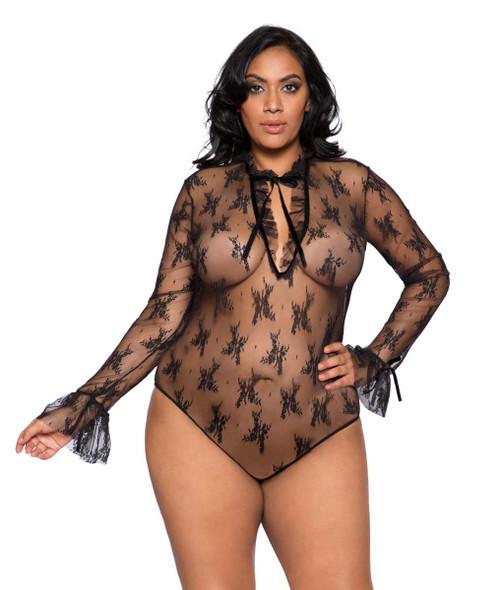 Plus Size Lingerie | LI248X, Long Sleeved Keyhole Teddy
