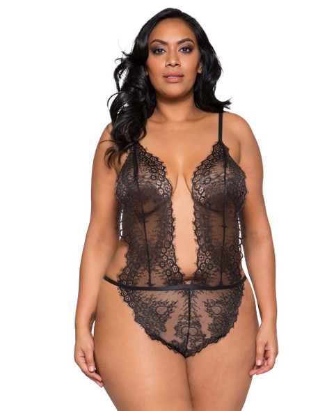 Plus Size Lingerie | LI257X, Lace Cutout Teddy