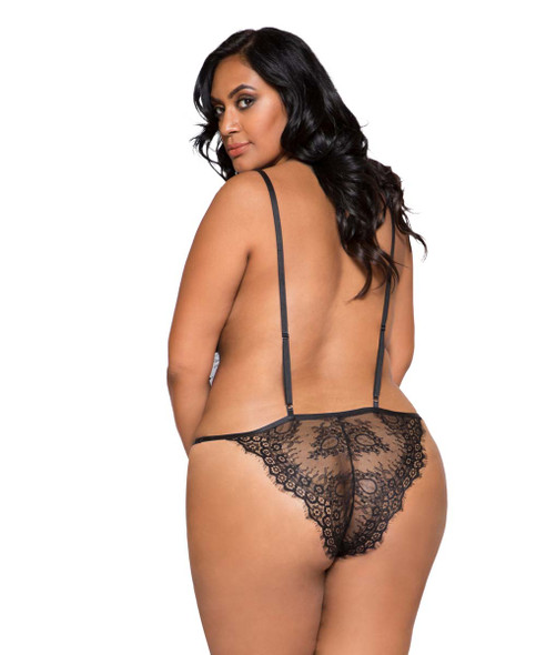 Plus Size Lingerie | LI257X, Lace Cutout Teddy back view