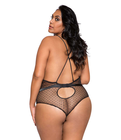 Plus Size Lingerie | LI278X, Satin and Lace Teddy back view