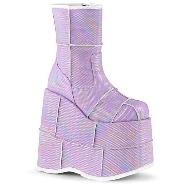 Men Rave Demonia | STACK-201HC, Hologram Ankle Boots with Patch Detail