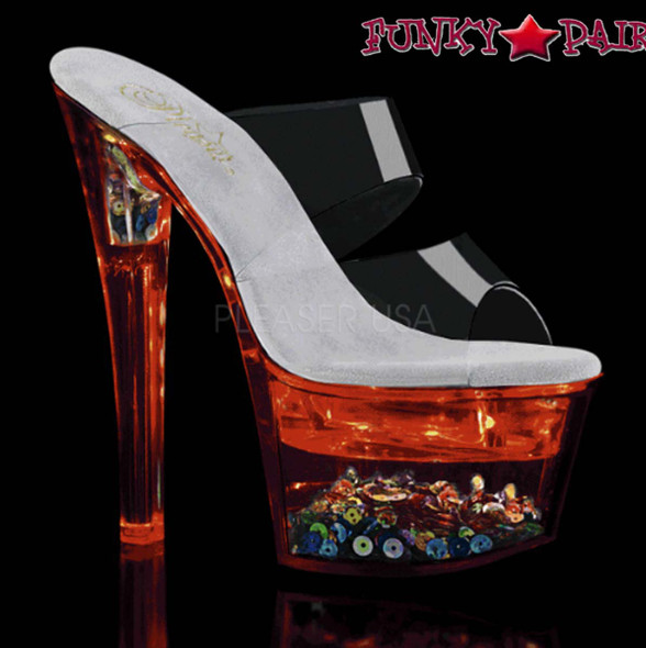 Pleaser Shoes| Flashdance-702SQ, Dual Strap Light-up Platform Sandal color red
