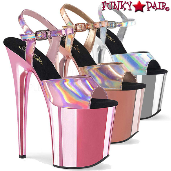 Flamingo-809HG, Hologram Ankle Strap with Chrome Bottom by Pleaser