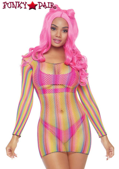 Leg Avenue | LA86795, Rainbow Fishnet Mini Dress