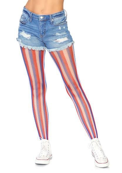 Americana Striped Fishnet Tights Leg Avenue LA-9307