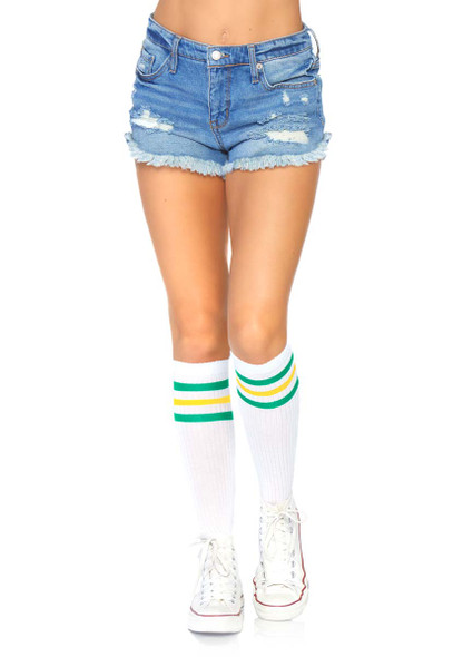 Athletic Striped Knee Highs Leg Avenue   LA-5614 color green/yellow