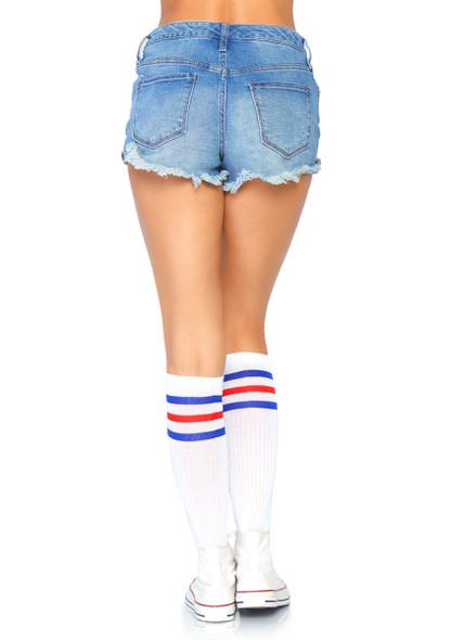 Athletic Striped Knee Highs Leg Avenue   LA-5614 color red/blue
