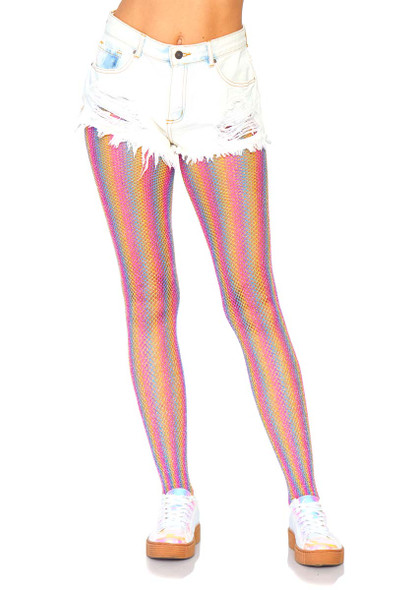 Rainbow Fishnet Tights Leg Avenue LA-9308 color pink