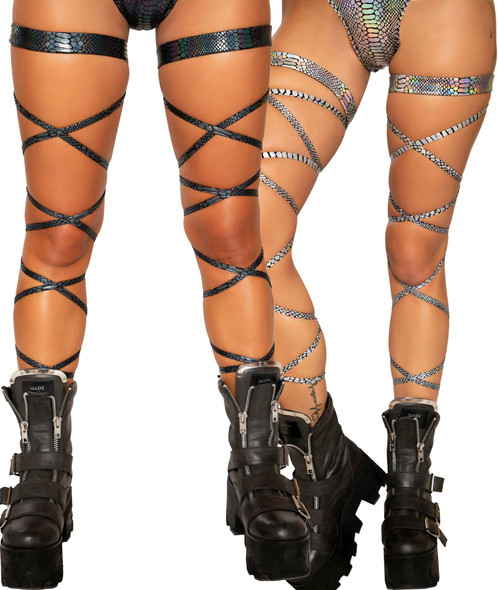 SNAKE SKIN LEG STRAP WITH ATTACHED GARTER| Roma R-3686