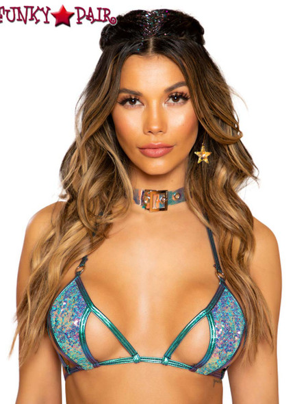 CUTOUT SEQUIN TIE RAVE TOP |  Roma R-3712 color jade blue