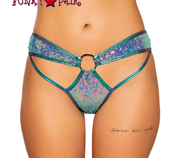 Roma | R-3716, CUTOUT FRONT SEQUIN SHORTS color jade blue
