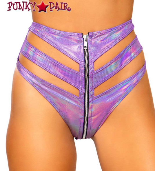 Purple CUTOUT HIGH-WAISTED RAVE SHORTS | Roma R-3726