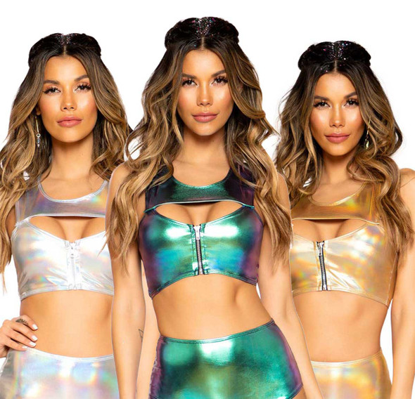 Roma | R-3752, METALLIC RAVE CROP TOP