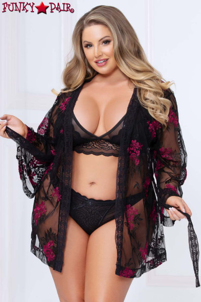STM-10969X, Plus Size Floral Embroidered Mesh Robe