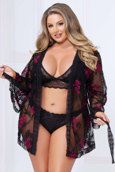 Plus Size Floral Embroidered Mesh Robe STM-10969X