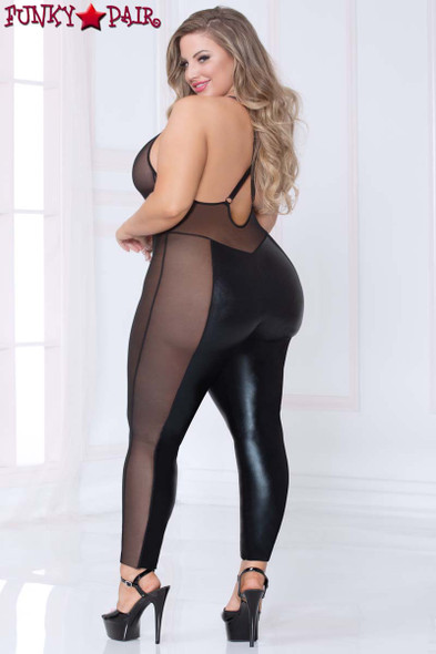 STM-10964X Lamé and Mesh Bodysuit Plus Size back view