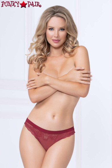 Red Lace and Mesh Thong STM-10987