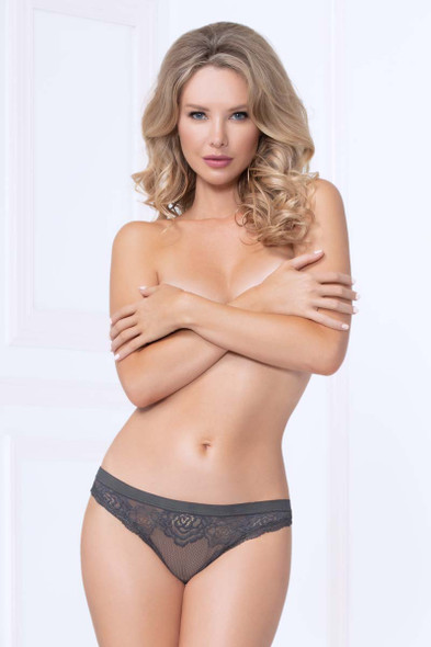Lace and Mesh Thong STM-10987,  Seven Till Midnight