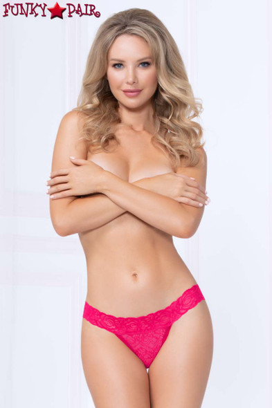 STM-10985, Wide Waistband Lace Thong color pink